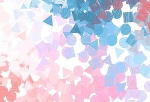 modelo de vetor azul, vermelho claro com cristais, círculos, quadrados.