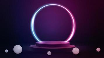 cena rosa e azul com grande anel de néon gradiente em torno do pódio. vetor
