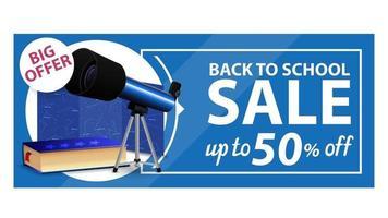 de volta às aulas, banner de desconto na web com telescópio vetor