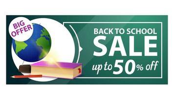 volta às aulas, banner de desconto na web com globo e livros escolares vetor