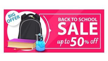 volta às aulas, banner de desconto com mochila escolar, vetor