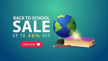 volta às aulas, banner da web de descontos em estilo minimalista com globo vetor