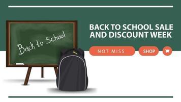 volta às aulas e semana de desconto, banner de desconto horizontal na web vetor