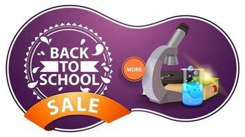 liquidação de volta às aulas, banner de desconto roxo moderno com microscópio vetor