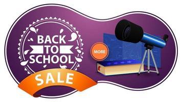 promoção de volta às aulas, banner de desconto roxo moderno com telescópio vetor