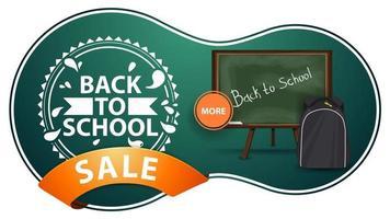 promoção de volta às aulas, banner de desconto verde moderno com conselho escolar vetor