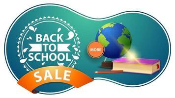 promoção de volta às aulas, banner de desconto verde moderno com globo vetor
