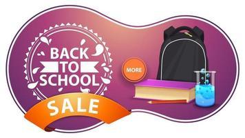 liquidação de volta às aulas, banner rosa moderno com desconto vetor