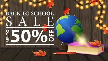 promoção de volta às aulas, banner da web de desconto com textura de madeira vetor