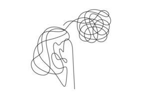 desenho de linha contínuo de jovem triste e infeliz vetor