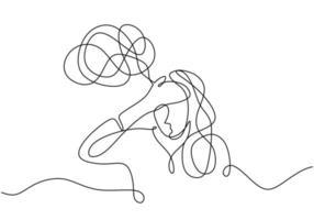 desenho de linha contínua de mulher jovem triste e infeliz. problema de psicologia vetor