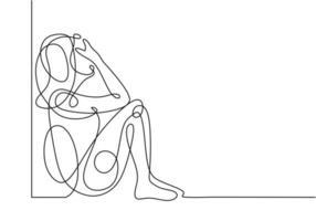 menina triste desenho contínuo de uma linha, pessoas sentindo estresse vetor