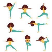 mulher negra fazendo ioga. conjunto de poses de ioga vetor