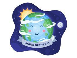 feliz dia mundial do ozônio em 16 de setembro com um lindo desenho da terra vetor