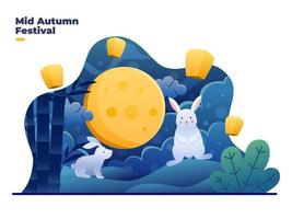 ilustração festival de meados do outono com bela paisagem à noite vetor