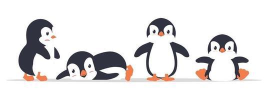 Conjunto de vetores de ícone de desenho animado de pinguim gordo fofo