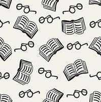 livro doodle com óculos padrão sem emenda vetor