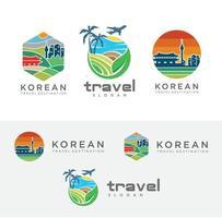 conjunto de cartaz de logotipo de viagem da Coreia do Sul seoul paisagem horizonte vetor