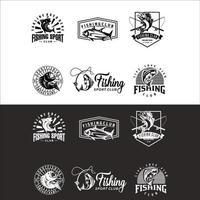conjunto de pesca pescador clube logotipo vetor retrô hipster silhueta