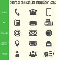 Coleção de ícones de informações de contato de cartão de visita vetor