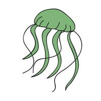 desenho animado da água-viva do mar vetor
