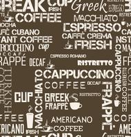 Telha sem costura de fundo de palavras de café e símbolos