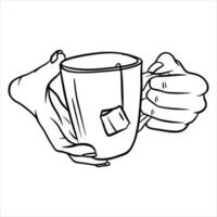 xícara com chá na mão. uma fragrante xícara de chá no café da manhã. vetor