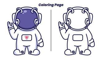 astronauta fofo com páginas para colorir vetor