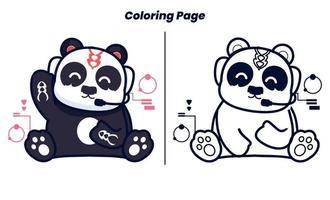 panda ouvindo música com páginas para colorir vetor