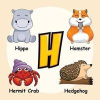 animais da letra h do alfabeto para ouriço hamster hipopótamo caranguejo eremita vetor