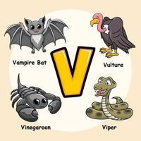 animais alfabeto letra v para abutre víbora vampiro morcego vinegaroon vetor