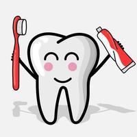 ilustração de personagens de dentes com equipamento odontológico. mascote dente vetor
