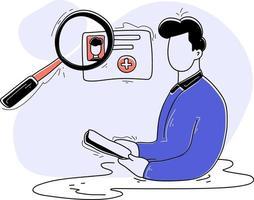 médico pesquisa ilustração plana cuidados médicos vetor