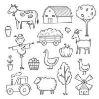 mão desenhada conjunto animal de fazenda, comida de fazendeiro. vetor