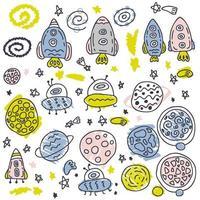 coleção de vetores de doodle de foguetes e planetas no espaço