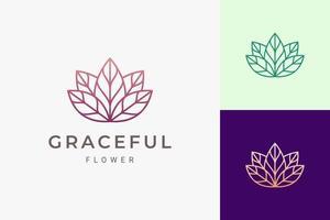 logotipo de cuidados de beleza ou salão de beleza em formato de flor feminina e luxuosa vetor
