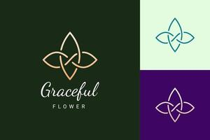 logotipo de beleza ou spa em forma de flor simples e luxuosa vetor