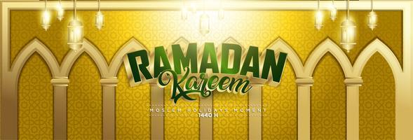 Ouro Ramadan Kareem fundo 1440 Hijr com Ramadan Kareem 3d letras de texto