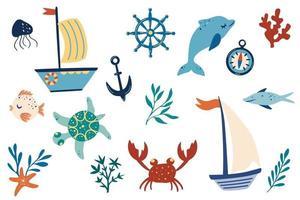 conjunto de itens marinhos. navios, golfinhos, algas, peixes, caranguejos, âncora. vetor