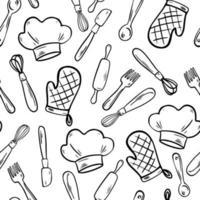 padrão sem emenda de ferramentas de cozinha. doodle coisas de cozinha vetor
