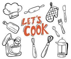 utensílios de cozinha. permite cozinhar letras. vetor