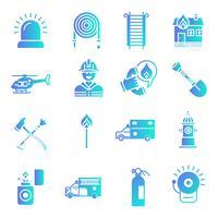 Conjunto de ícones de gradiente de bombeiro e bombeiros vetor