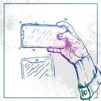 Ilustração da mão segurando um telefone e tirar uma selfie