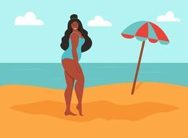 jovem curvilínea na praia. corpo positivo, amor próprio vetor