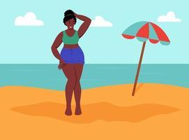 jovem curvilínea na praia. corpo positivo, amor próprio. vetor