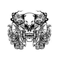 silhueta da ilustração do tigre e do crânio vetor