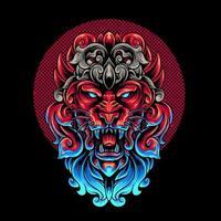 cabeça de leão com ornamento vetor
