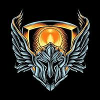 capacete espartano com asas vetor