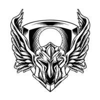 capacete espartano com silhueta de asas vetor