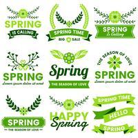 Rótulo de vetor Vintage retrô de primavera